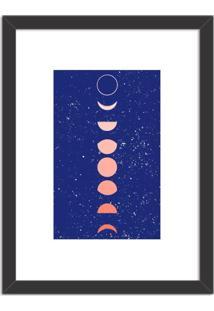 Quadro Decorativo Fases Da Lua Azul Preto - Médio