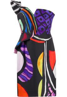 Moschino Vestido Com Estampa Abstrata E Recortes Nos Ombros - Preto