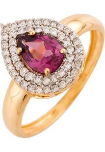 Anel De Ouro 18K Com Diamantes E Rodolita