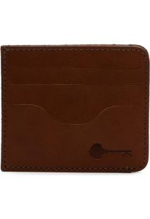 Carteira Porta Cartão Key Design - Wallet Card Holder - Caramel - Masculino-Caramelo