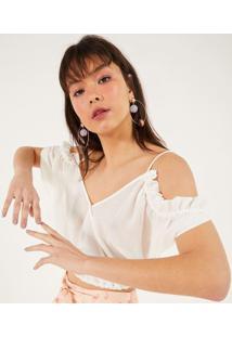 Blusa Cropped Com Transpasse & Franzidos - Off Whitepop Up