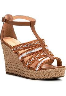 Sandália Plataforma Couro Shoestock Tranças Feminina - Feminino-Off White+Caramelo
