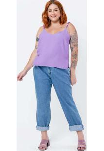 Blusa De Alça Plus Size Alça Com Bolinha Creponada
