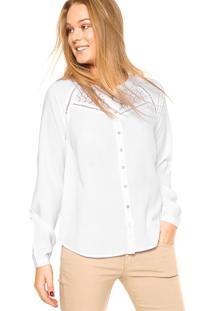 Camisa Doce Trama Renda Branca