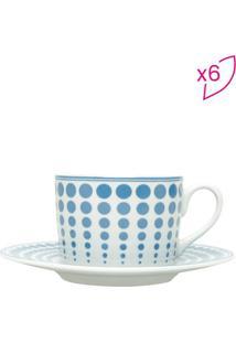 Jogo De Xícaras Para Chá Dots- Branca & Azul- 6Pçs