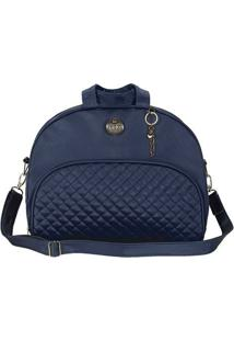 Bolsa Em Matelassê - Azul Escuro- 28X33X7Cm - Babatistela
