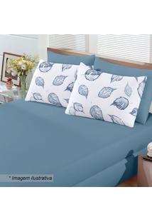Jogo De Cama Basic Cipestre Queen Size- Azul & Branco