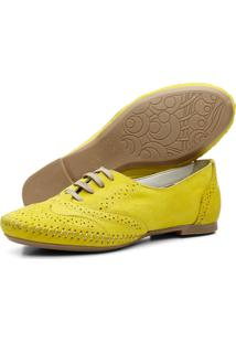 Sapato Oxford Casual Em Couro Yes Basic 15360 Amarelo