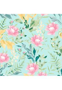 Papel De Parede Flores Azul E Rosa (950X52)