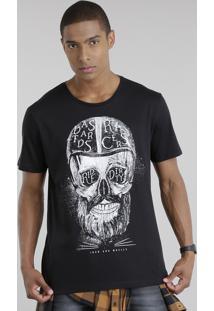 Camiseta Com Estampa De Caveira Preta