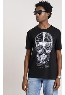 Camiseta Masculina Caveira Manga Curta Gola Careca Preta