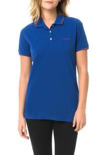 Polo Piquet Calvin Klein Jeans Com Logo E Friso Mangas Azul Carbono - Pp