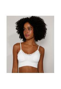 Top Cropped Sem Costura Com Renda E Bojo Removível Branco