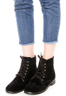 Bota Coturno Dafiti Shoes Brogue Preta
