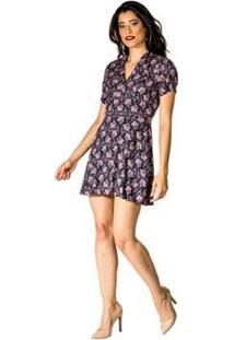 Vestido Estampa Floral Handbook - Feminino-Roxo