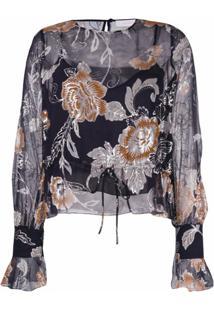 See By Chloé Drawstring Floral Blouse - Preto