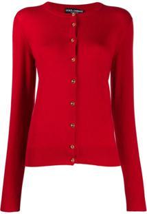 Dolce & Gabbana Cardigan Com Logo E Botões - Vermelho