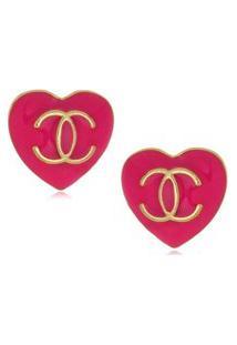 Brinco Le Diamond Coração Resinado Pink