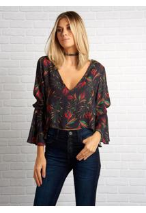 Blusa John John Flower Night Estampado Feminina (Estampado, P)