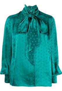 Attico Blusa De Cetim Com Estampa De Estrela - Verde