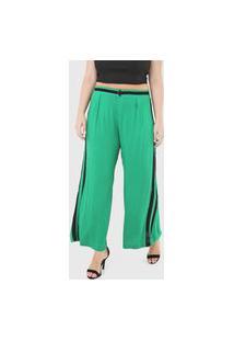 Calça Gris Pantalona Listrada Verde/Preto