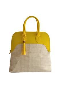 Bolsa De Palha De Buriti Com Amarelo Design Clássico Com Estilo