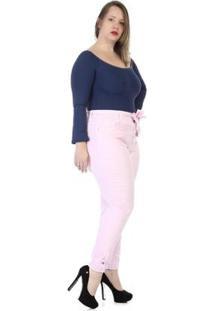 Calça Sawary Sarja Plus Size Feminina - Feminino-Rosa