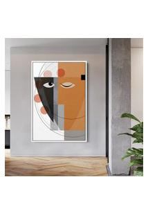 Quadro 90X60Cm Abstrato Geométrico Oriental Masuku Moldura Flutuante Filete Branca