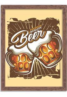 Quadro Decorativo Retrô Premium Quality Beer Madeira - Médio