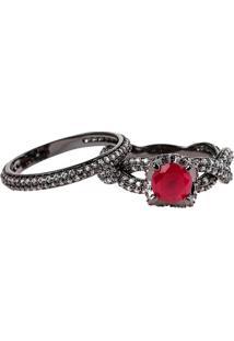Anel Solitário Com Aparador The Ring Boutique Pedra Cristal Vermelho Rubi Ródio Negro
