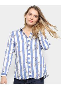 Camisa Pérola Manga Longa Listrada Feminina - Feminino-Azul