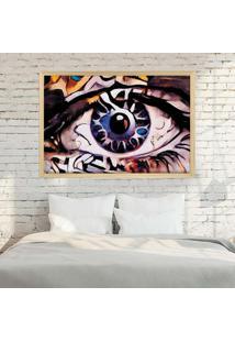 Quadro Love Decor Com Moldura Olhos Azuis Abstrato Madeira Clara - Grande