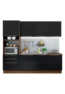 Cozinha Completa Madesa Lux Com Armário E Balcão 7 Portas 3 Gavetas Rustic/Preto Rustic