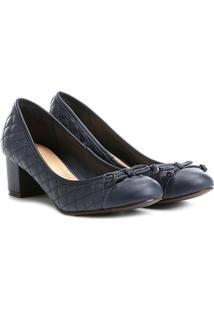 Scarpin Shoestock Salto Médio Matelassê - Feminino-Marinho