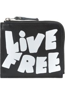 Comme Des Garçons Wallet Carteira Pequena De Couro 'Live Free' - Preto