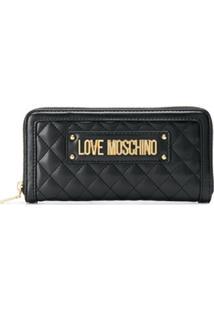 Love Moschino Carteira Matelassê Com Logo - Preto
