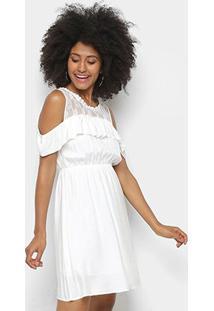 Vestido Pérola Curto Evasê Detalhe Babado Renda - Feminino-Branco