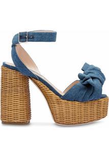 Miu Miu Sandália Jeans Com Plataforma - Azul