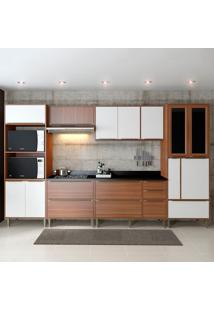 Cozinha Completa Com Tampo 14 Portas 5450 Nogueira/Branco - Multimóveis