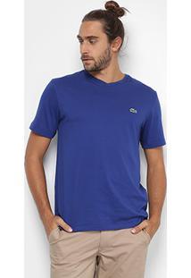 Camiseta Lacoste Gola V Masculina - Masculino-Azul