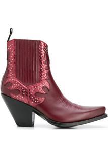 Paul Warmer Ankle Boot Com Aplicação De Tachas - Vermelho