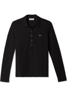 Camisa Lacoste Manga Longa Feminina - Feminino-Preto