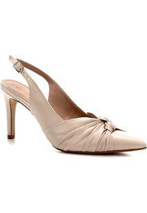 Scarpin Shoestock Salto Baixo Delicado Couro - Feminino-Off White