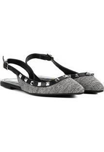 Sapatilha Santa Lolla Chanel Spikes Feminina - Feminino-Preto+Prata