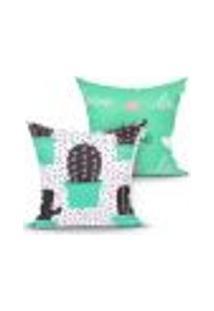 Capa Para Almofada Estampada Verde Cacto Decorativa Kit Com 2 Unidades 45Cm X 45Cm Com Zíper