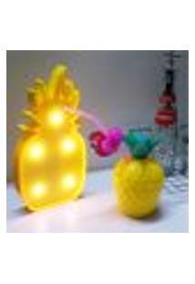 Luminária Led Abajur Luz Decoracão Modelo Abacaxi Amarelo
