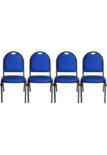 Kit 04 Cadeiras Pethiflex Essencial Hot Fixável Couro Azul