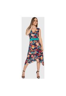 Vestido Mullet Carbella Lidia Liganete Acinturado Floral Midi Azul Marinho