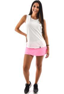Regata Rich Young Fitness Academia Branca Shorts Saia Fitness Rosa Com Branco