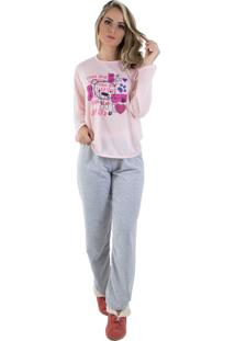 Pijama Linha Noite Longo Rosa
